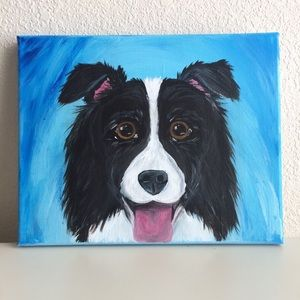 Border Collie Aussie canvas wall art painted dog